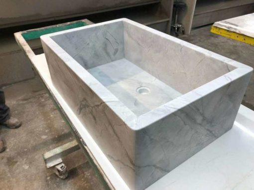 Super white quartz kitchen sink farm sink
